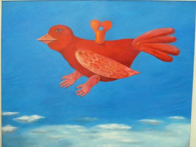 Jan Manitskis första inköp - en uppskruvbar fågel av Judi Arrak (f. 1936) Detta besök avslutade vår spännande och intressanta Estlandsresa med 30 nöjda deltagare från både Konstnärernas vänner och Thielska Galleriets vänner. Foto: LouiseLyberg