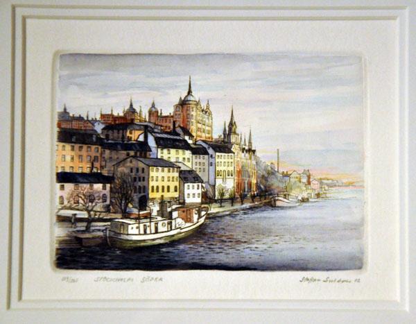 Staffan Snidare Stockholm Söder akvarell/etsning