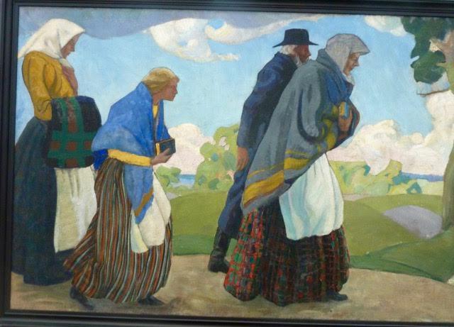 Peter Aaren  (1889-1970) På väg till kyrkan 1917